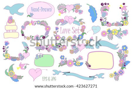 Hand-drawn love and wedding flower clipart, love letter clipart, romantic flower wreath clipart, spring flower bouquet isolated, spring flower ornament, spring meadow flower, spring wedding decor - stock vector
