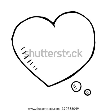 hand drawn love speech bubble isolated, vector doodle heart sign - stock vector