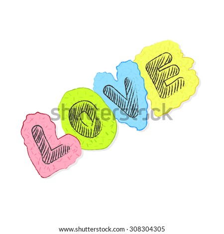 Hand drawn Love text lettering  - stock vector