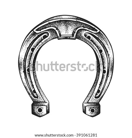 Hand drawn lucky horseshoe. Saint Patricks Day. Vector illustration