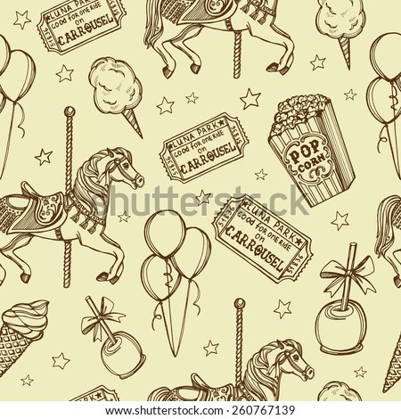 Hand drawn luna park vintage seamless pattern. Cotton candy, carousel horse, pop corn, air balloons, candy apple, ice cream, tickets - stock vector