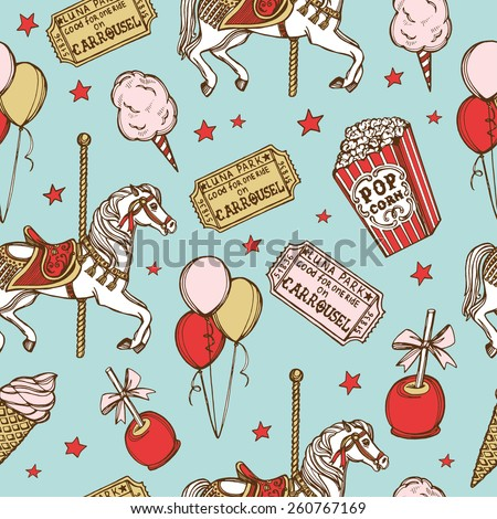 Hand drawn luna park vintage seamless pattern. Cotton candy, carousel horse, pop corn, air balloons, candy apple, ice cream, amusement park tickets - stock vector