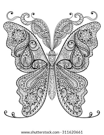 Hand drawn magic butterfly for adult anti stress Coloring Page with high details isolated on white background, illustration in zentangle style. Vector monochrome sketch. Nature collection. - stock vector