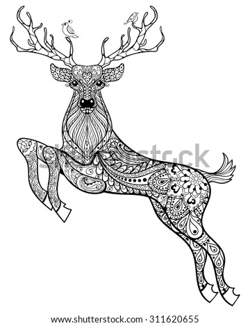 Hand drawn magic horned deer with birds for adult anti stress Coloring Page with high details isolated on white background, illustration in zentangle style. Vector monochrome sketch.  - stock vector