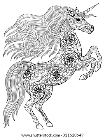 Hand drawn magic Unicorn for adult anti stress Coloring Page with high details isolated on white background, illustration in zentangle style. Vector monochrome sketch. Animal collection. - stock vector