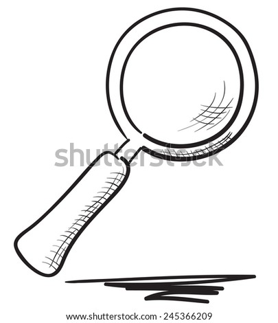 Hand drawn magnifier illustration - stock vector