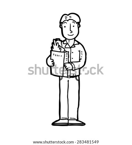 hand drawn man with shopping bag - stock vector