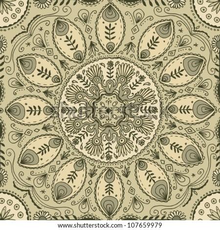 hand drawn mandala tile - stock vector
