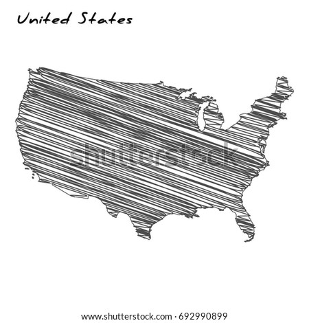 Vector Illustrationhand Drawn Map United States Stock Vector - Us map sketch