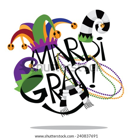 Hand drawn Mardi Gras type with hats and beads EPS 10 vector stock illustration - stock vector