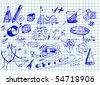 hand drawn math icons - stock vector