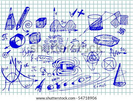 hand drawn math icons - stock vector