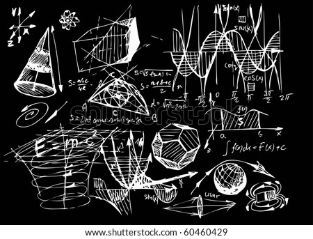 hand drawn math symbols on the blackboard - stock vector