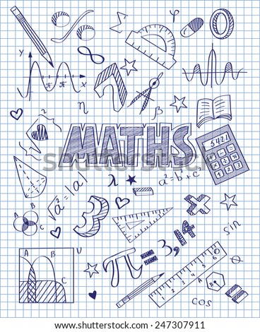 Hand drawn Mathematics set - stock vector
