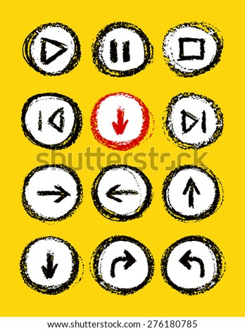 hand drawn media player buttons set vector illustration - stock vector