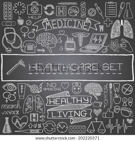 Hand drawn medical set of icons with medical and science tools, human organs, diagrams etc. Black chalkboard effect. Vector illustration.  - stock vector
