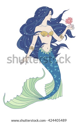 Hand drawn mermaid holding a flower, on white background, linen color vector illustration. - stock vector