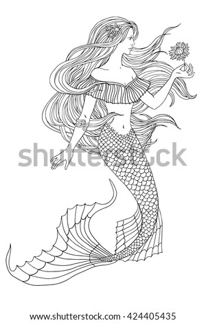 Hand drawn mermaid holding a flower, on white background, linen vector illustration for coloring book. - stock vector