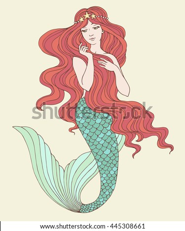 Hand drawn mermaid, on white background, linen vector illustration.