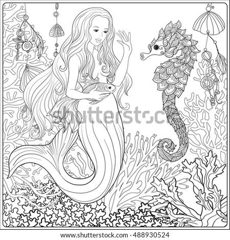 Hand Drawn Mermaid Gold Fish Underwater Stock Vector ...