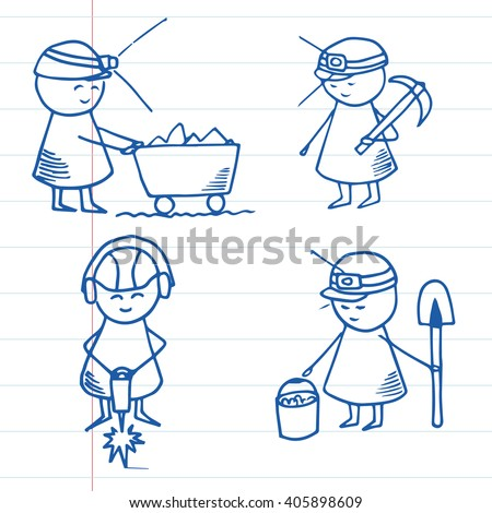 Hand drawn miner characters on striped paper. Doodle miners set. Vector Illustration. - stock vector