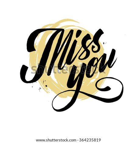 Hand drawn miss you card. vector illustration. - stock vector