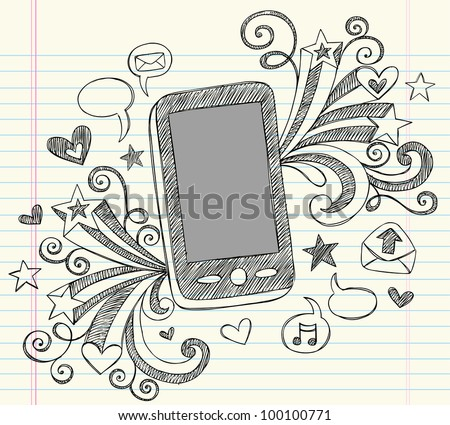 Hand-Drawn Mobile Cell Phone PDA Sketchy Notebook Doodles with Swirls, Hearts, Email Icons, Speech Bubbles, and Shooting Stars- Vector Illustration Design Elements on Lined Sketchbook Paper Background - stock vector