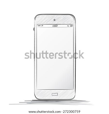 Hand drawn  Mobile Phone Vector illustration - White - stock vector