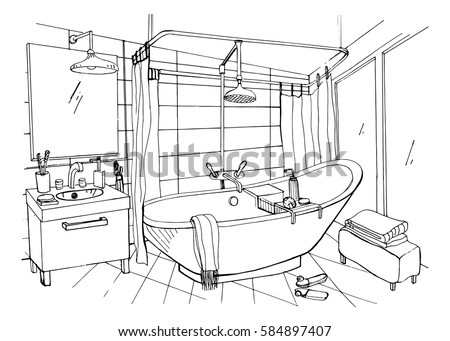 Hand Drawn Modern Bathroom Interior Design Stock Vector 584897407 Shutterstock