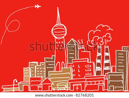 Hand-drawn modern city sketch - stock vector