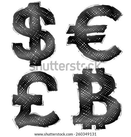 Hand drawn money symbols with hatching. Sketch of currency signs in doodle style. Qualitative vector illustration for banking, financial industry, economy, accounting, currency markets, etc