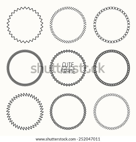 Hand drawn monochrome frame of geometric pattern. Trendy doodle style. Vector set of wreaths design elements. Beautiful simple illustration. - stock vector