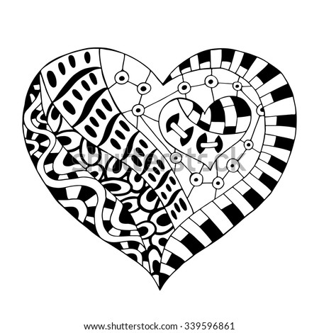 Hand Drawn Monochrome Heart In Zentangle Style Pattern For Coloring Book Page