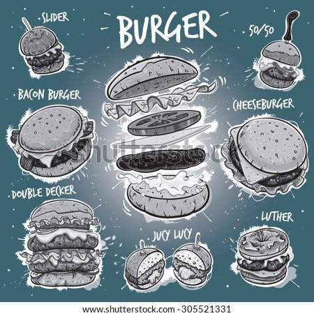 Hand drawn monochrome vector illustration of 8 popular burgers, including hamburger, cheeseburger, bacon burger, double decker burger, slider burger, luther burger, juicy lucy burger, 50/50 burger. - stock vector