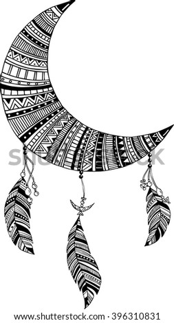 Hand-drawn moon dreamcatcher with feathers. Ethnic illustration, tribal, American Indians traditional symbol. - stock vector
