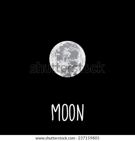 Hand drawn Moon vector. Scribbled sketch style on a black background. - stock vector