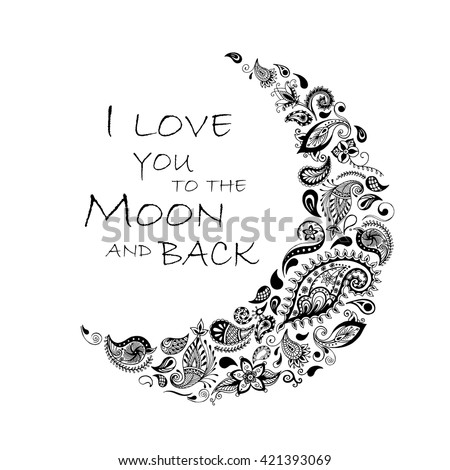 Hand drawn moon with flowers, mandalas and paisley. Floral pattern. Vector illustration - stock vector