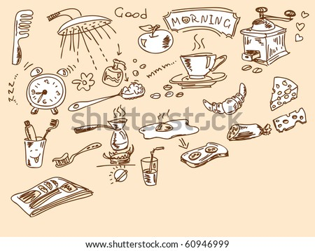 Hand drawn morning doodles. Visit my portfolio for big collection of doodles - stock vector