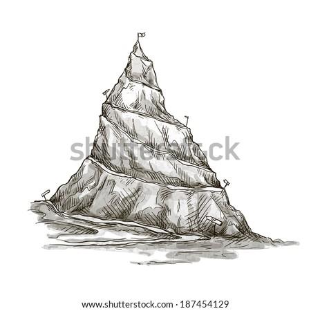 Hand drawn mountain. Mountain peak. serpentine road. Vector. EPS 10. - stock vector