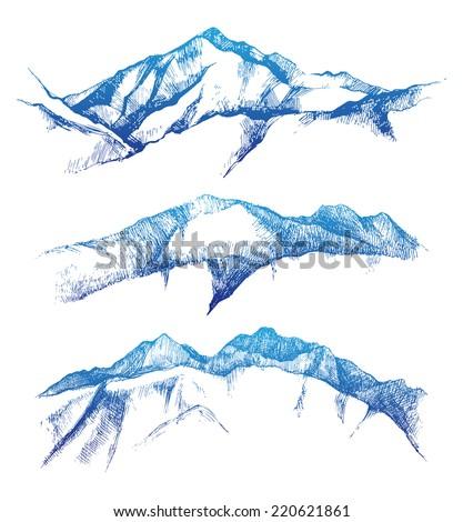 hand drawn mountain range set - stock vector