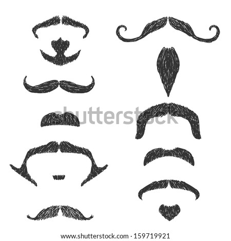 Hand drawn moustache set - stock vector