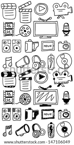 Hand drawn movie doodles / icon set isolated on white - stock vector