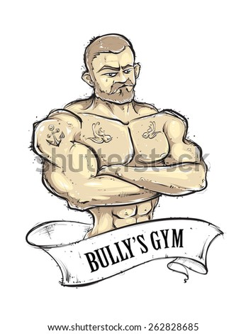 Hand-drawn muscular gym guy with tattoos. Vintage ribbon banner. Sketchy retro styled vector illustration. - stock vector