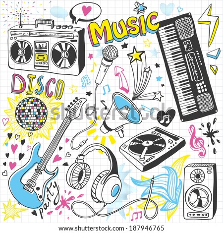 Hand-drawn music doodles - stock vector