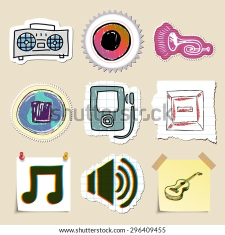 Hand drawn music emblems set. Isolated. Stickers - stock vector