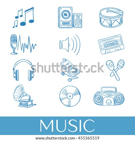 Hand drawn music icons set. Vector illustration, EPS 10 - stock vector