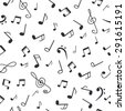 Hand drawn music notes. Music seamless pattern background. Vector illustration - stock vector
