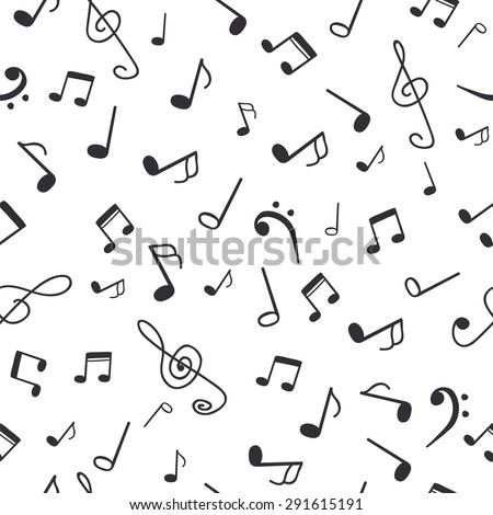 Hand drawn music notes. Music seamless pattern background. Vector illustration