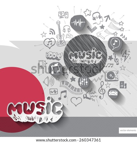 Hand drawn music notice icons with icons background. Vector illustration - stock vector