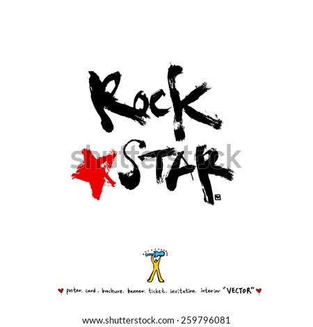 Hand drawn Music poster illustration - vector - stock vector